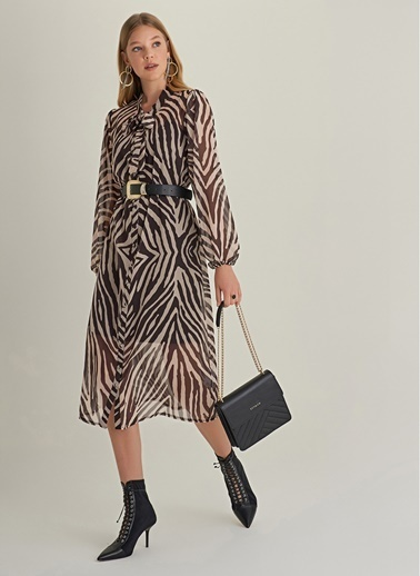 NGSTYLE Zebra Desenli Elbise Bej